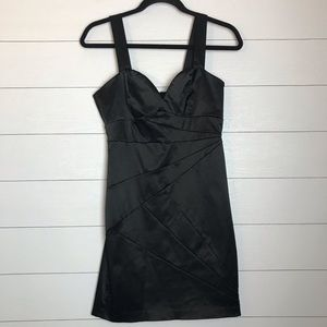 H&M Black Satin Bodycon Party Dress w/ Gold Zipper